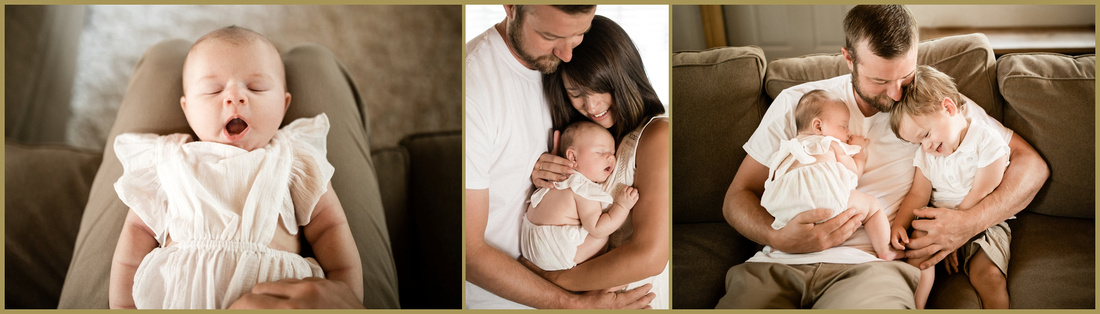 Lifestyle newborn sessions are a relaxed peek into your family's life at home as you cuddle up with your new baby. I will come to your home for a 2-3 hour session with my cameras and a few simple props for your baby. Lifestyle sessionscapture those tender moments between your family and your new baby with minimum posing. These sessions are ideal if you have an older sibling with a tricky nap schedule. They work best if you have an uncluttered space with plenty of natural light.